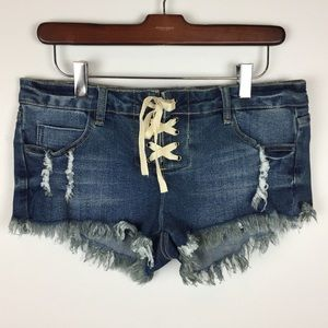 Ocean Drive Denim Cut Off Shorts Frayed Lace Up 5
